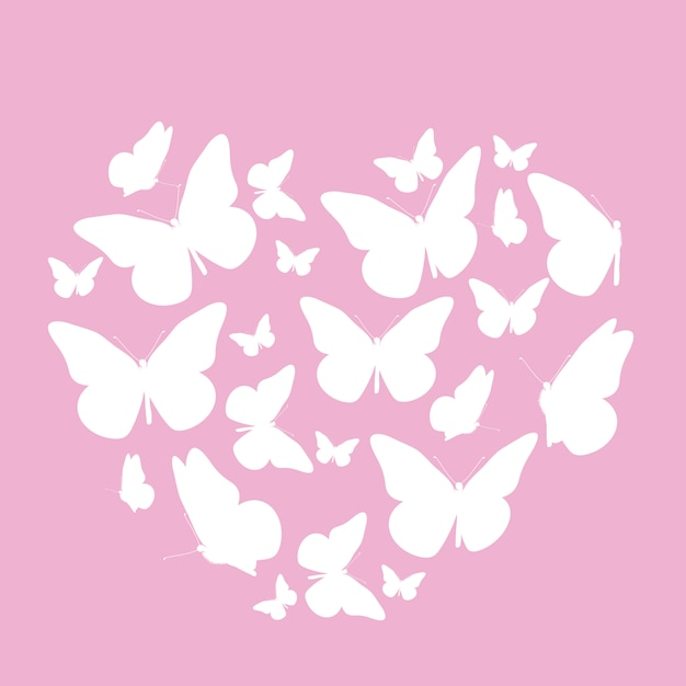 Abstract background with heart symbol made from butterfly. Premium Vector