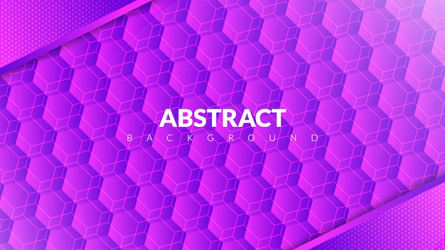 Abstract background with hexagon concept in purple gradient Premium Vector
