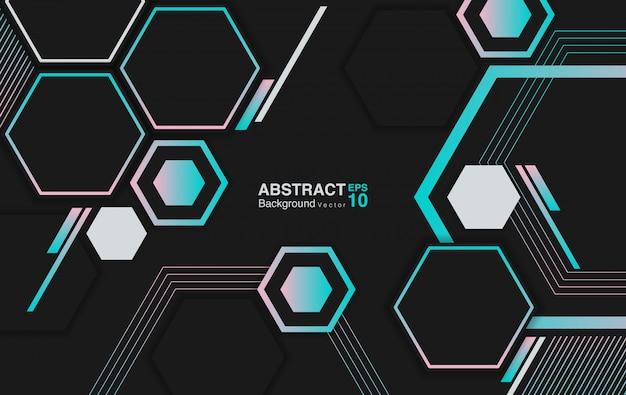 六角形と抽象的な背景。未来的な背景のコンセプト。 Premiumベクター