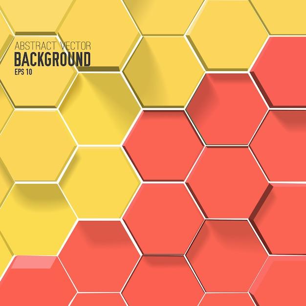 赤と黄色の色の六角形と抽象的な背景 無料ベクター