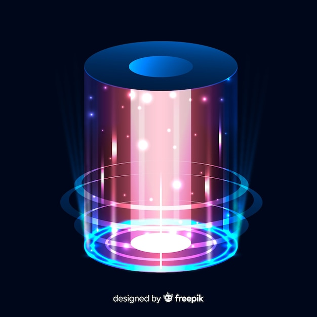 Abstract background with an holographic portal Free Vector