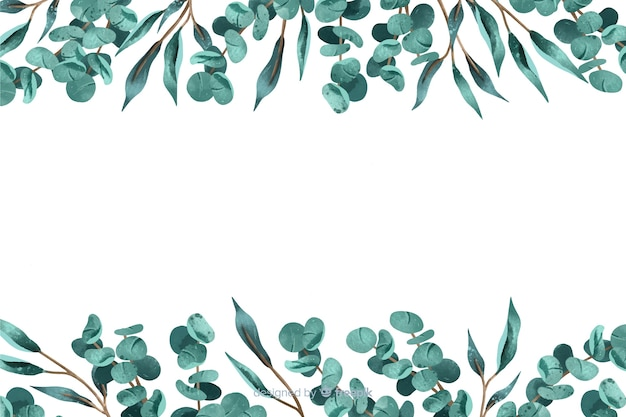 Abstract background with leaves frame Free Vector