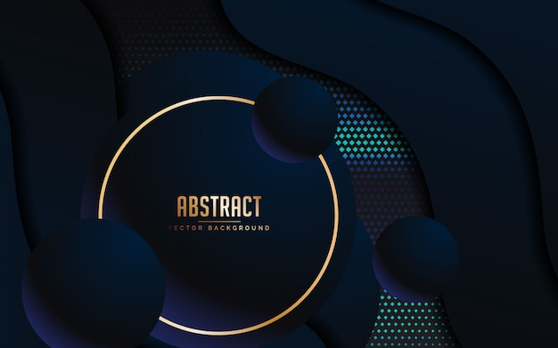Abstract background with luxury black and blue color Premium Vector