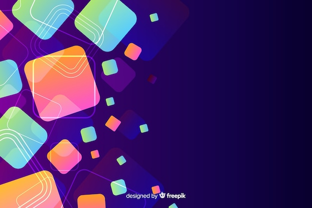 Abstract background with moving geometric shapes Free Vector