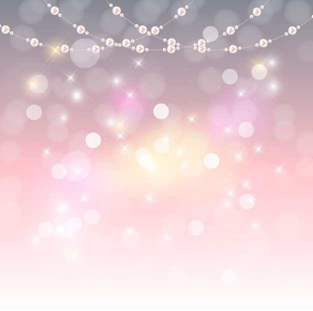 Abstract background with natural pearl garlands of beads. vector illustration Premium Vector