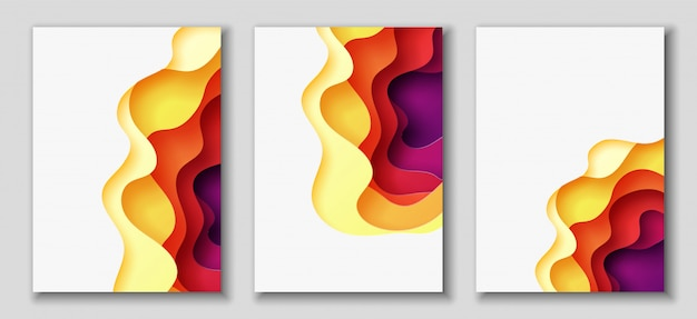 Abstract background with paper cut shapes Premium Vector
