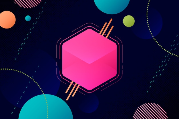 Abstract background with pink 3d cube Free Vector
