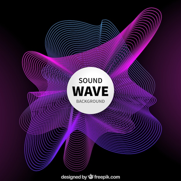 Abstract background with purple and blue sound waves Free Vector