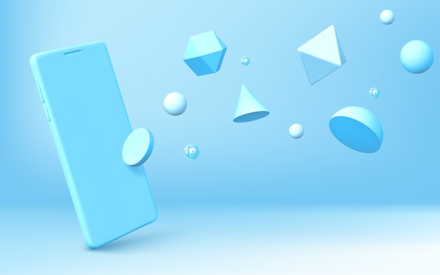 リアルなスマートフォンと幾何学的な3d形状の抽象的な背景が青い背景に散らばっています。半球、八面体、球、円錐、円柱、二十面体とベクトル携帯電話のレンダリング 無料ベクター