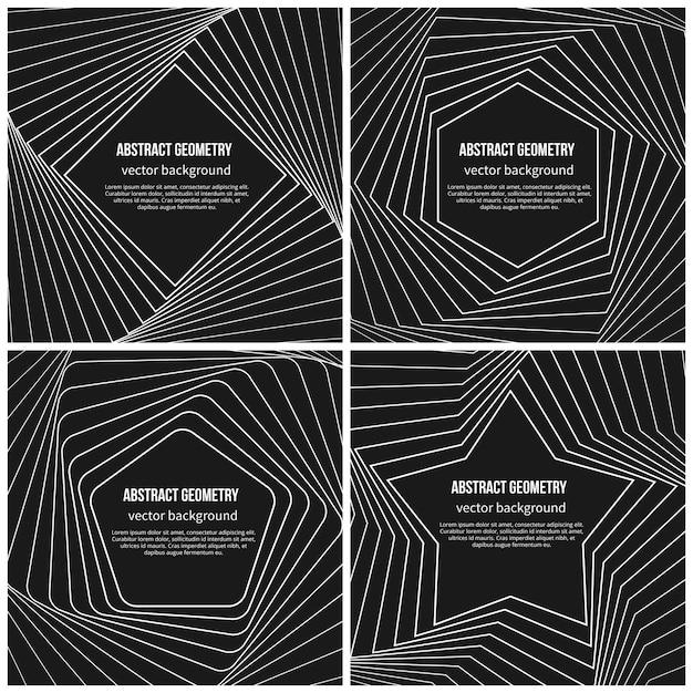 線形スタイルのシンプルな幾何学的形状と抽象的な背景。五角形とひし形、星と六角形の形 無料ベクター