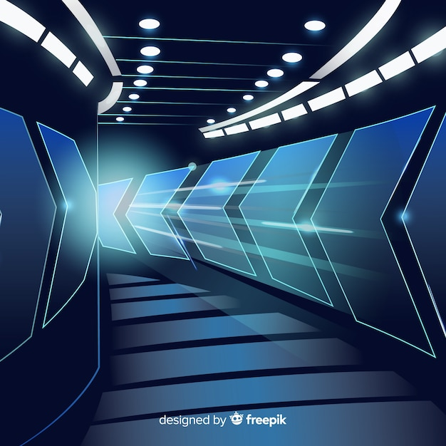 Abstract background with technological light tunnel Free Vector