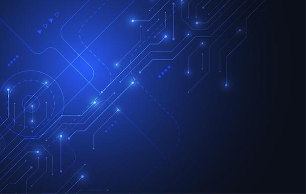 Абстрактный фон с текстурой монтажной платы технологии. электронная материнская плата иллюстрации. коммуникационная и инженерная концепция. векторная иллюстрация Premium векторы