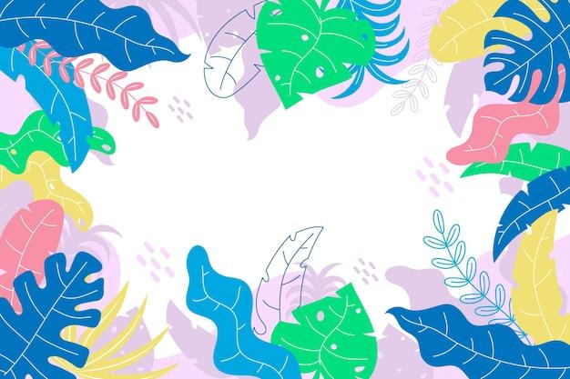 Абстрактный фон с тропическими листьями Бесплатные векторы