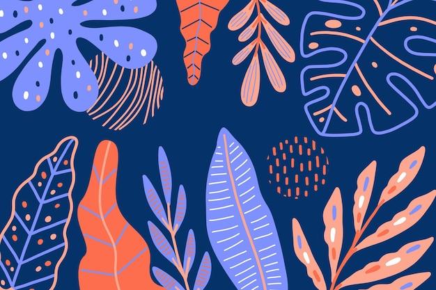 熱帯の葉と抽象的な背景 無料ベクター