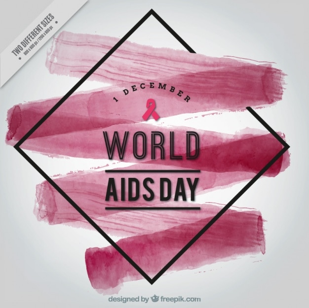 Abstract background with watercolor brush\ stroke of world aids day
