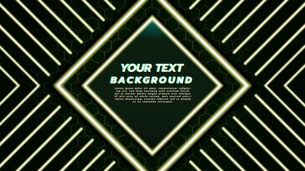Abstract background with with neon light in diamond square and line. Premium Vector