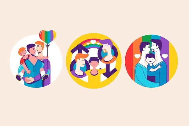 同性愛者のカップルや家族との抽象的なバッジ 無料ベクター