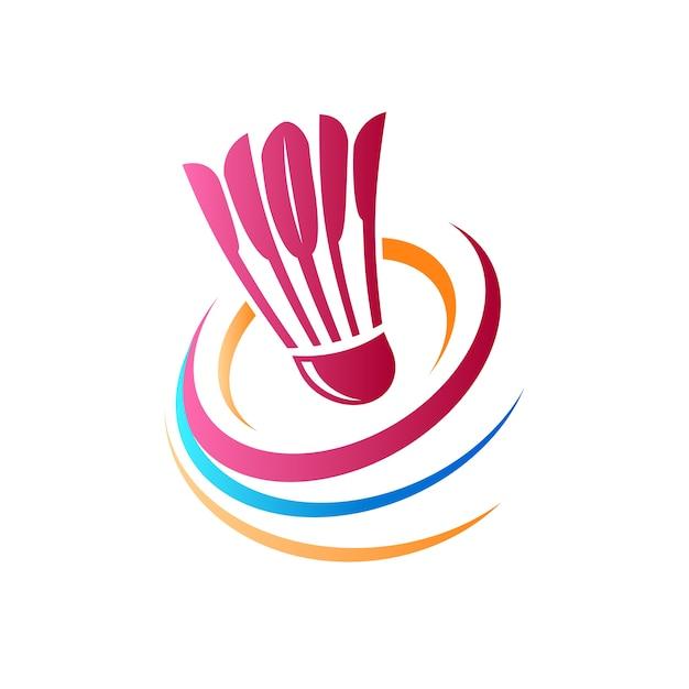 Abstract badminton logo Free Vector