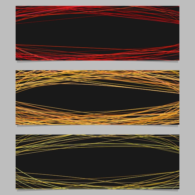 Abstract banner background template design set - vector illustration with random arched stripes on black background Free Vector