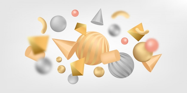 Abstract banner background with 3d shapes. Premium Vector
