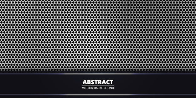 Abstract banner background with white hexagon carbon fiber. Premium Vector