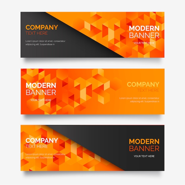 Abstract Banner Collection with Modern Shapes Free Vector