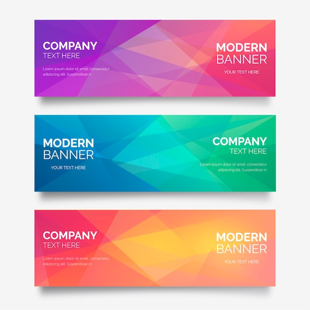 Abstract banner collection with polygonal shapes Free Vector
