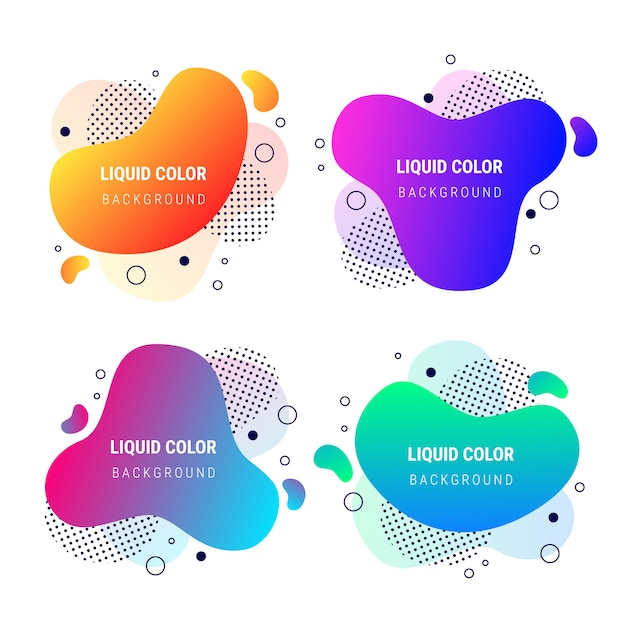 Abstract banner fluid vibrant gradient shapes collection Free Vector