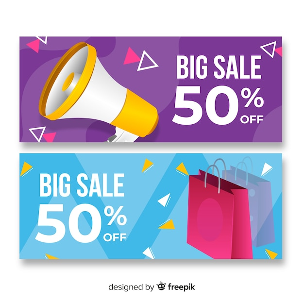 Abstract banner sale realistic objects collection Free Vector