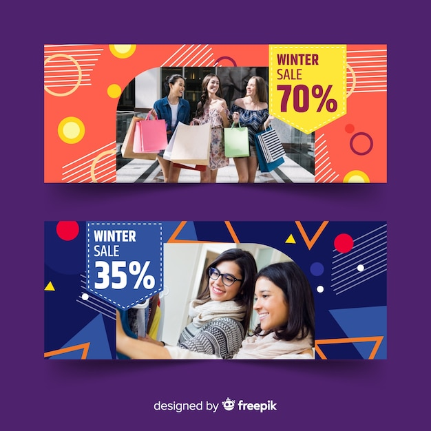 Abstract banner sale with photo collection Free Vector