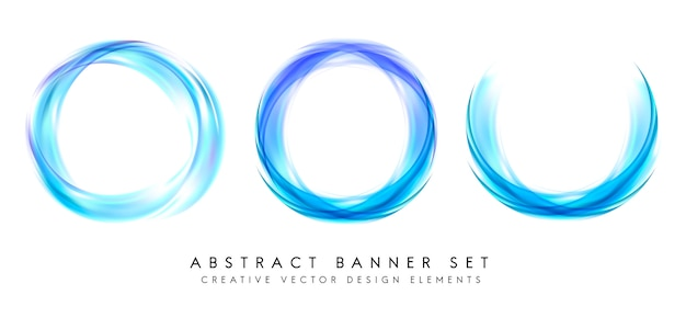 Abstract banner set in blue Free Vector