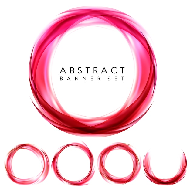 Abstract banner set in red Free Vector