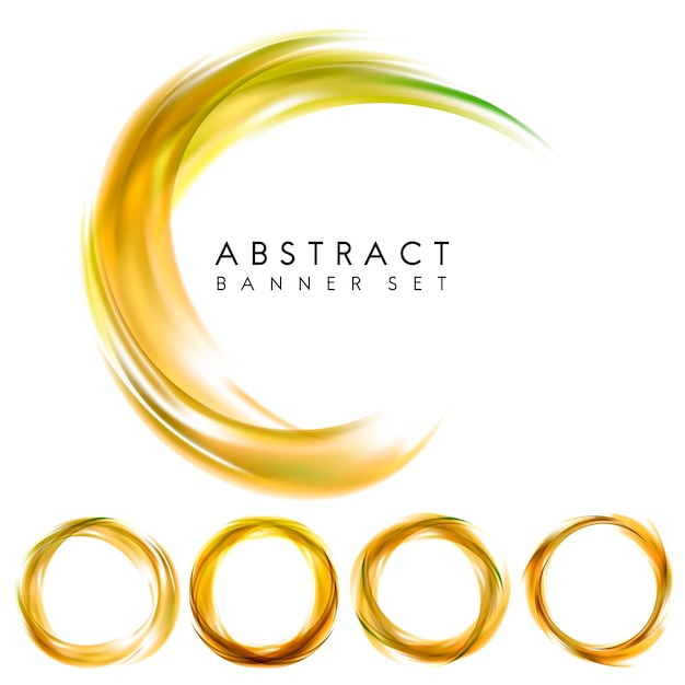 Abstract banner set in yellow Free Vector