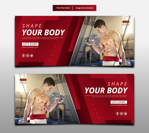 抽象的なバナーはあなたの体、フィットネスグラフィックレイアウトテンプレートを形作る。 Premiumベクター