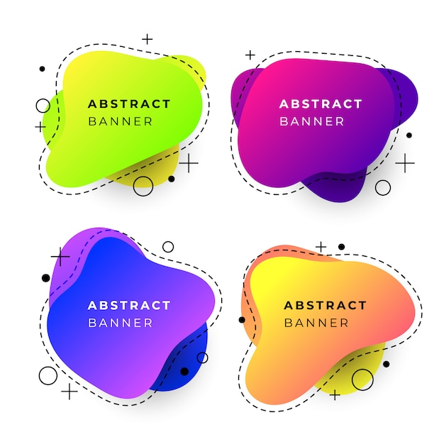 Abstract banner templates with fluid gradient shapes Free Vector