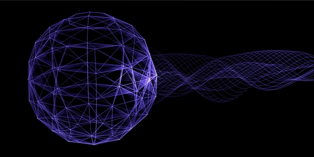 神経叢地球儀のデザインと流れる粒子と抽象的なバナー 無料ベクター