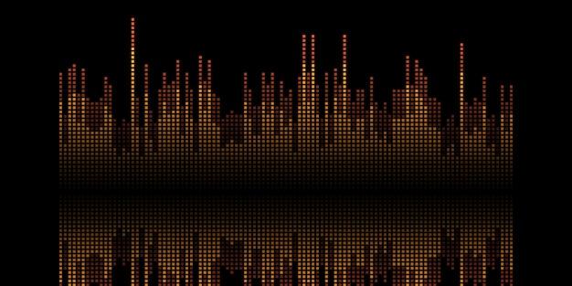 音波ピクセルデザインの抽象的なバナー 無料ベクター