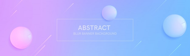 Abstract banner with gradient shapes and blur background with 3d realistic sphere. dynamic shape composition.  template Premium Vector