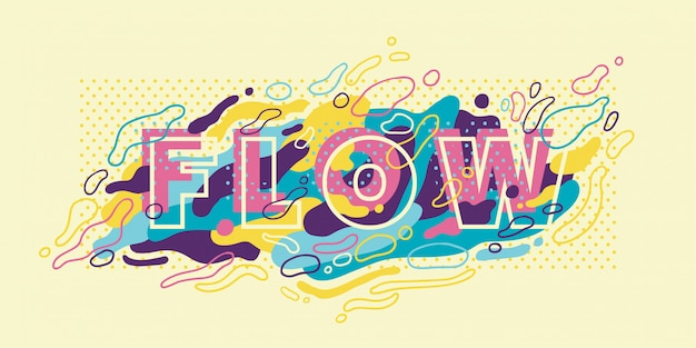 Abstract banner  with typography and colorful fluid shapes. Premium Vector