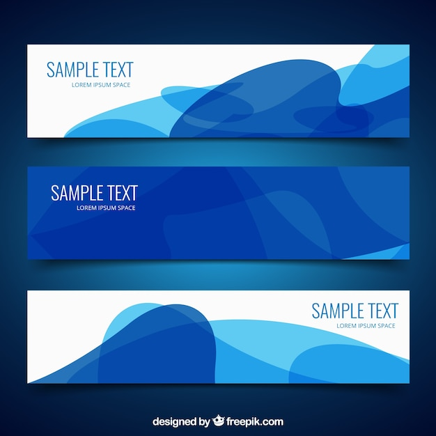 Abstract banners in blue colors Free Vector