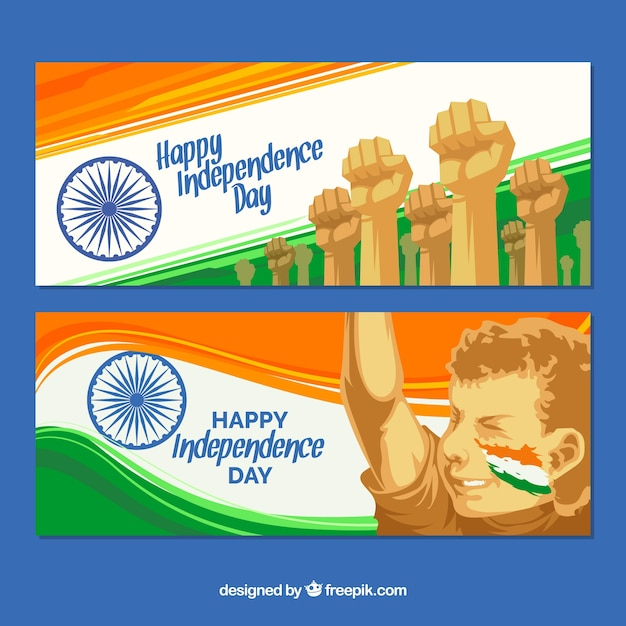 Abstract banners of the fight for india independence Free Vector