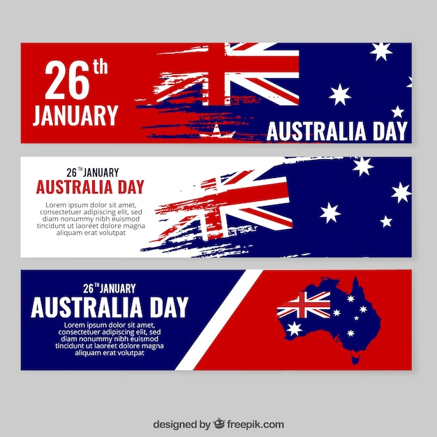 abstract banners of australia day vector free download