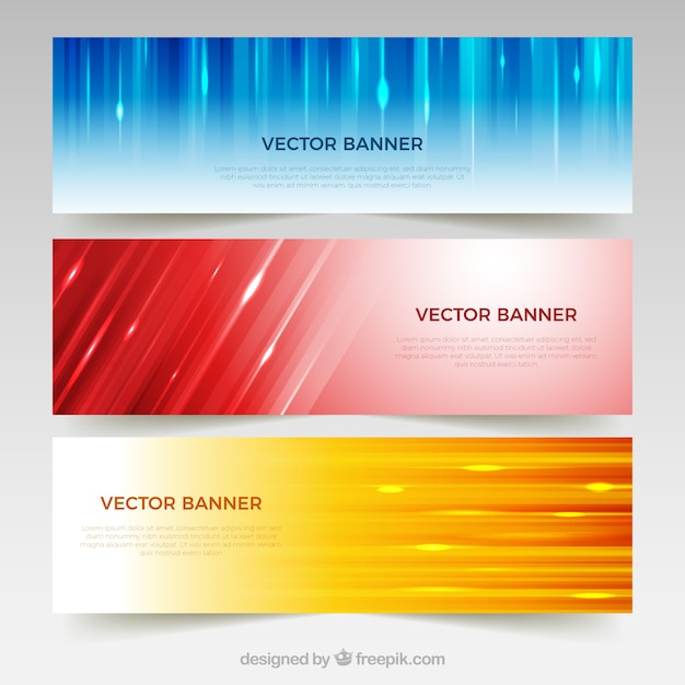 Abstract banners of colored and lights