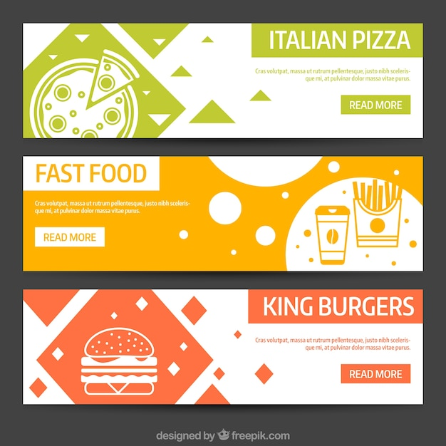 abstract banners of different types of food vector free download