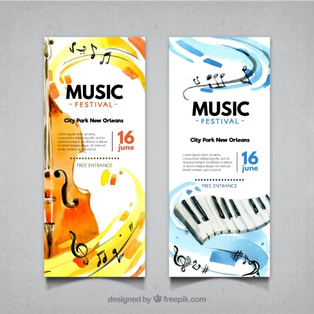 Abstract banners of music festival with violin and piano Free Vector