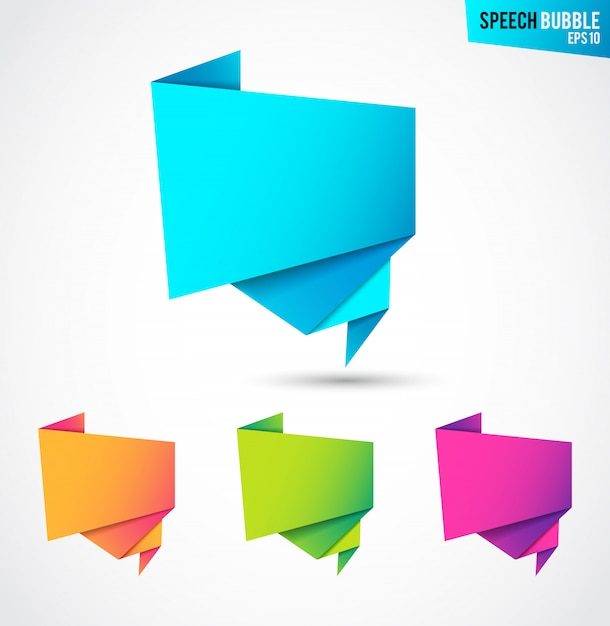 Abstract banners set, folded paper tape, or original voice bubbles Free Vector