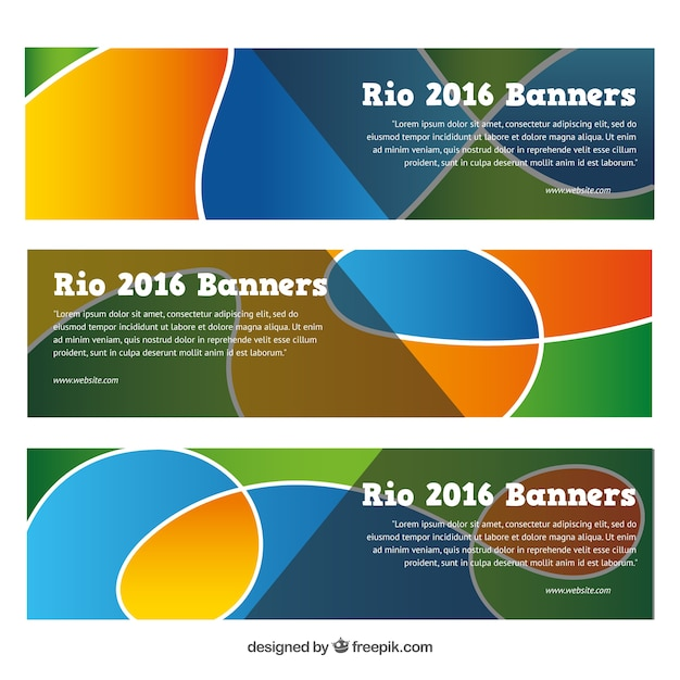 Abstract banners set of olimpic games Free Vector