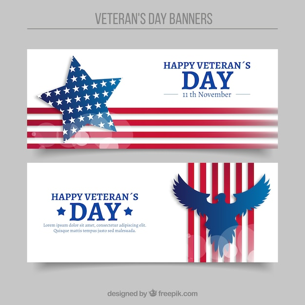 Abstract Banners Of Veterans Day Vector Free Download