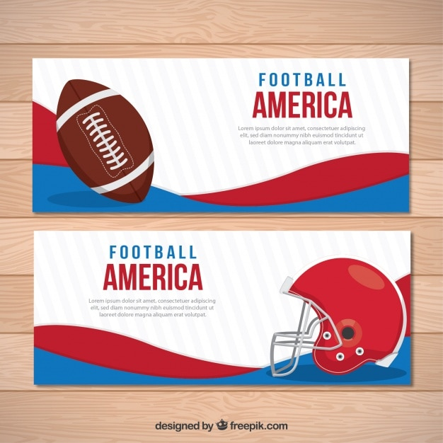 Abstract banners with american football\ elements