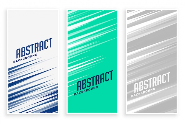 Abstract banners with fast motion lines in three colors Free Vector